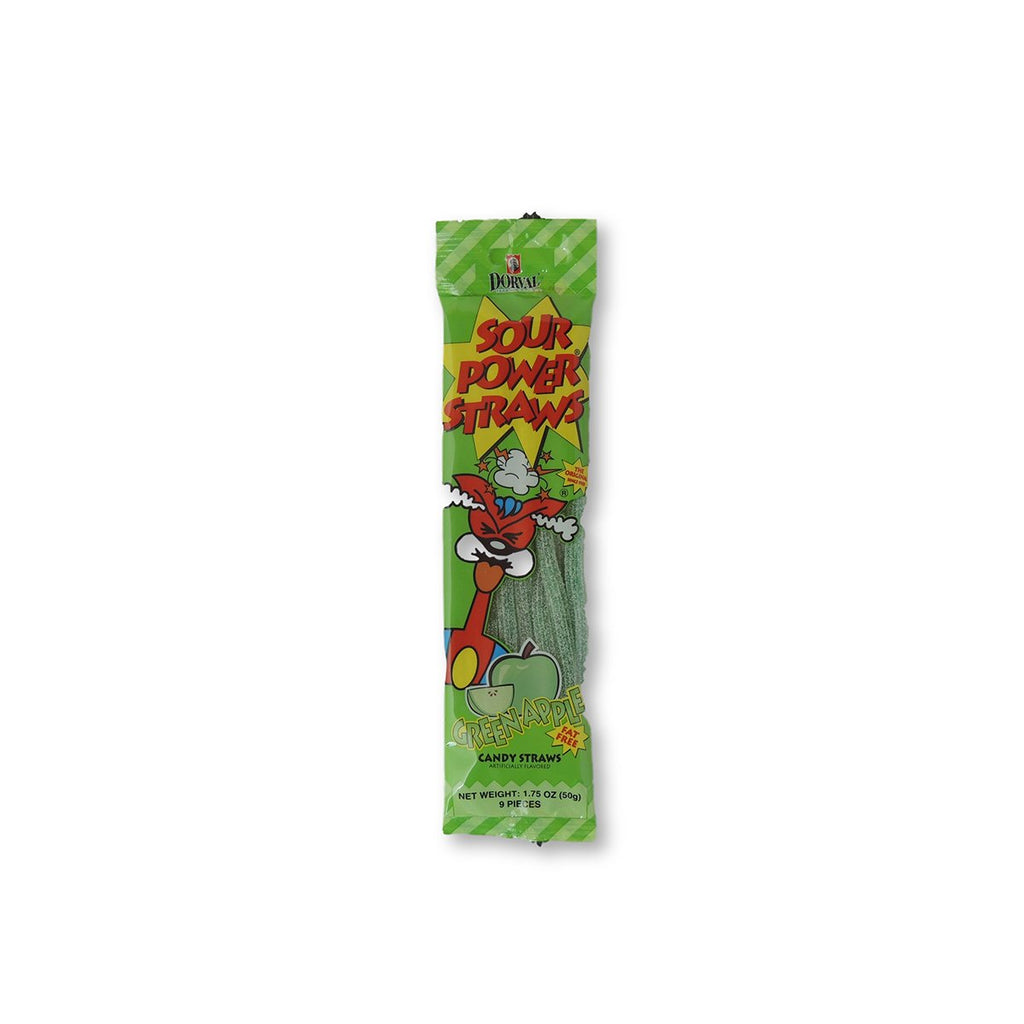 Sour Power Straws Green Apple 2 Oz