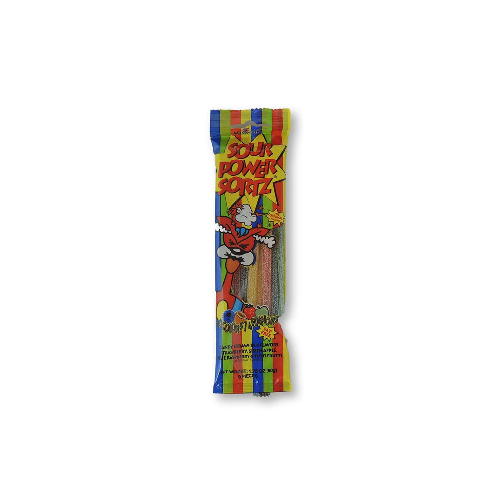 Sour Power Straws Sortz 4flavors 2 Oz