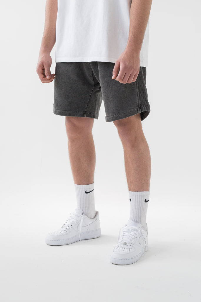 Straight Leg Shorts - Washed Black