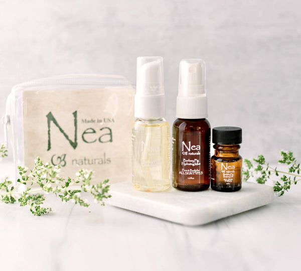 Travel-Sized Nea Package ●1 oz. Cleansing Oil ●1 oz. Hydrating Mist ●.25 oz. Beauty Oil – all skin type