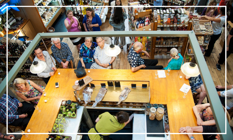 Aerial image of the service counter during a wine tasting event