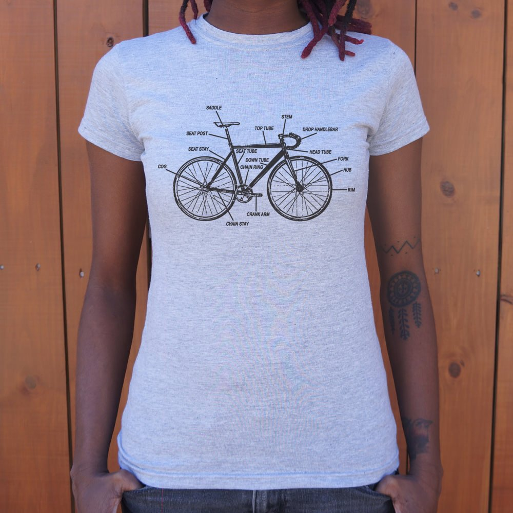 Light Steel Blue Bike Anatomy T-Shirt (Ladies) Small / Gray Granite,Medium / Gray Granite,Large / Gray Granite,X-Large / Gray Granite,Small / Soft Pink,Medium / Soft Pink,Large / Soft Pink,X-Large / Soft Pink,Small / Lucky Green,Medium / Lucky Green,Large / Lucky Green,X-Large / Lucky Green,Small / Sky Blue,Medium / Sky Blue,Large / Sky Blue,X-Large / Sky Blue,Small / Snow,Medium / Snow,Large / Snow,X-Large / Snow