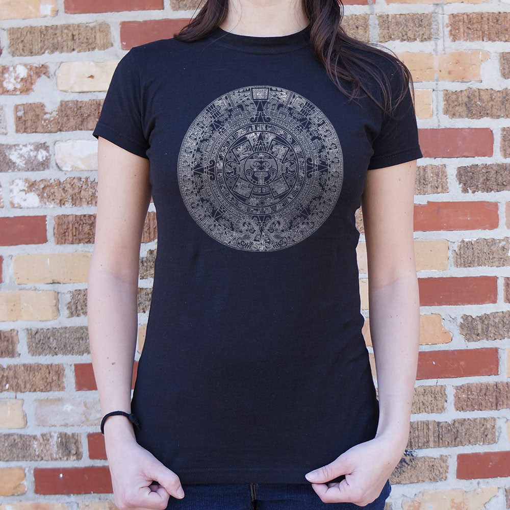 Dark Slate Gray Aztec Calendar T-Shirt (Ladies) Small / Chocolate,Medium / Chocolate,Large / Chocolate,X-Large / Chocolate,Small / Midnight,Medium / Midnight,Large / Midnight,X-Large / Midnight,Small / True Navy,Medium / True Navy,Large / True Navy,X-Large / True Navy,Small / Lucky Green,Medium / Lucky Green,Large / Lucky Green,X-Large / Lucky Green,Small / Deep Red,Medium / Deep Red,Large / Deep Red,X-Large / Deep Red,Small / Sky Blue,Medium / Sky Blue,Large / Sky Blue,X-Large / Sky Blue