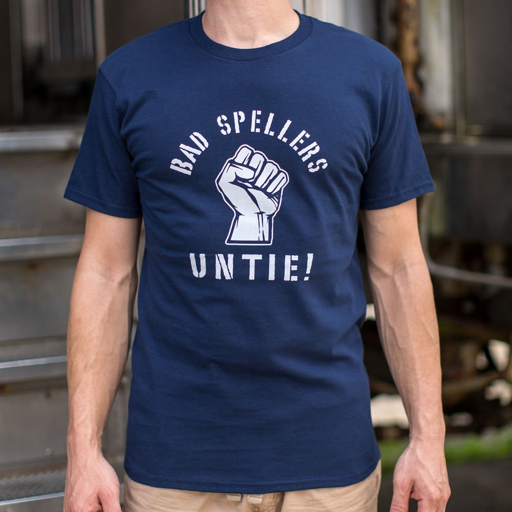 Dark Slate Gray Bad Spellers Untie T-Shirt (Mens) Small / Navy Blue,Medium / Navy Blue,Large / Navy Blue,X-Large / Navy Blue,2X-Large / Navy Blue,3X-Large / Navy Blue,Small / Brown Heather,Medium / Brown Heather,Large / Brown Heather,X-Large / Brown Heather,2X-Large / Brown Heather,3X-Large / Brown Heather,Small / Black,Medium / Black,Large / Black,X-Large / Black,2X-Large / Black,3X-Large / Black,Small / Gray Heather,Medium / Gray Heather,Large / Gray Heather,X-Large / Gray Heather,2X-Large / Gray Heather,
