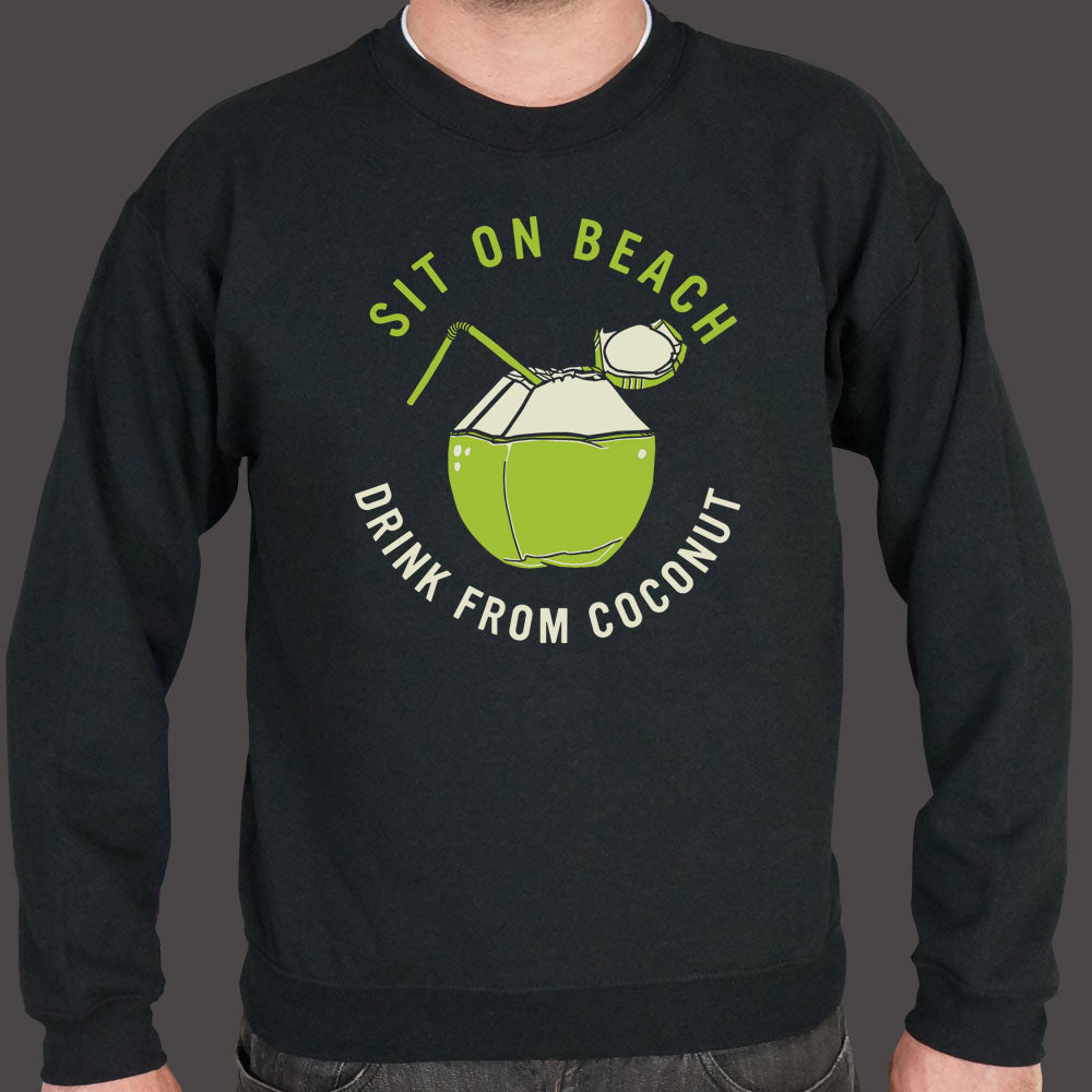 Yellow Green Sit On Beach, Drink From Coconut Sweater (Mens) Small / Black,Medium / Black,2X-Large / Black,Large / Black,X-Large / Black,3X-Large / Black