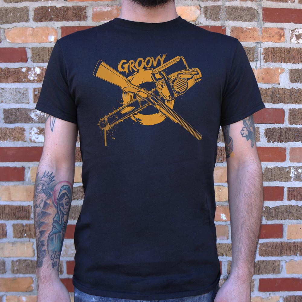 Dark Slate Gray Groovy Chainsaw And Boomstick T-Shirt (Mens) Small / Black,Medium / Black,Large / Black,X-Large / Black,2X-Large / Black,3X-Large / Black,Small / White,Medium / White,Large / White,X-Large / White,2X-Large / White,3X-Large / White,Small / Brown Heather,Medium / Brown Heather,Large / Brown Heather,X-Large / Brown Heather,2X-Large / Brown Heather,3X-Large / Brown Heather,Small / Charcoal,Medium / Charcoal,Large / Charcoal,X-Large / Charcoal,2X-Large / Charcoal,3X-Large / Charcoal,Small / Navy