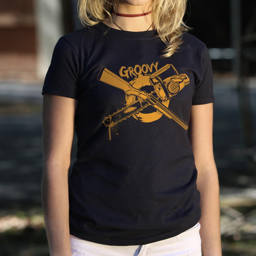Black Groovy Chainsaw And Boomstick T-Shirt (Ladies) Small / Midnight,Medium / Midnight,Large / Midnight,X-Large / Midnight,Small / True Navy,Medium / True Navy,Large / True Navy,X-Large / True Navy,Small / Gray Granite,Medium / Gray Granite,Large / Gray Granite,X-Large / Gray Granite,Small / Soft Pink,Medium / Soft Pink,Large / Soft Pink,X-Large / Soft Pink,Small / Deep Ash,Medium / Deep Ash,Large / Deep Ash,X-Large / Deep Ash,Small / Chocolate,Medium / Chocolate,Large / Chocolate,X-Large / Chocolate,Small