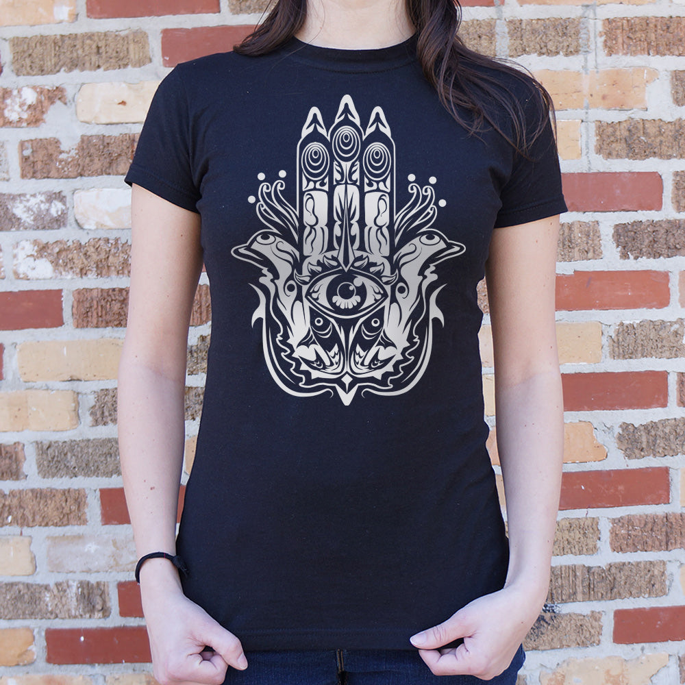 Dark Slate Gray Hamsa Hand Symbol T-Shirt (Ladies) Small / Midnight,Medium / Midnight,Large / Midnight,X-Large / Midnight,Small / Deep Red,Medium / Deep Red,Large / Deep Red,X-Large / Deep Red,Small / True Navy,Medium / True Navy,Large / True Navy,X-Large / True Navy,Small / Lucky Green,Medium / Lucky Green,Large / Lucky Green,X-Large / Lucky Green,Small / Deep Ash,Medium / Deep Ash,Large / Deep Ash,X-Large / Deep Ash,Small / Chocolate,Medium / Chocolate,Large / Chocolate,X-Large / Chocolate,Small / Sky Blu