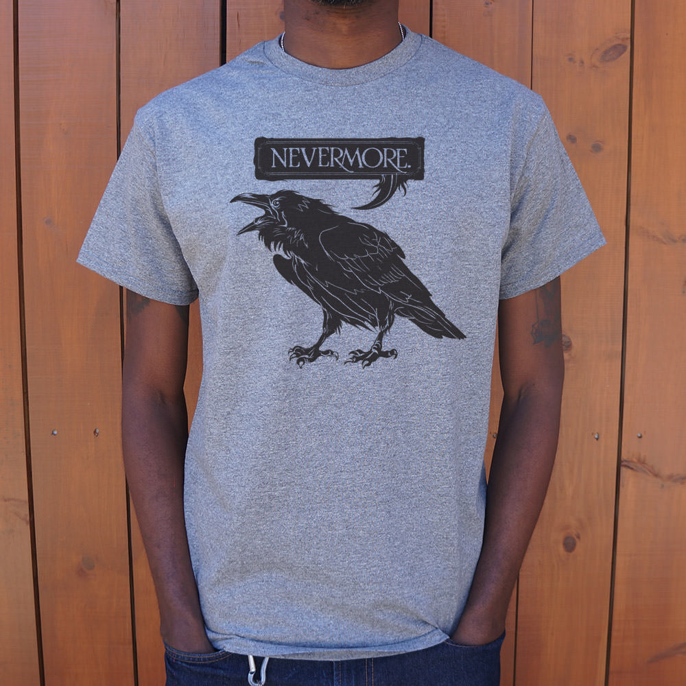 Light Slate Gray Nevermore Raven T-Shirt (Mens) Small / Gray Heather,Medium / Gray Heather,Large / Gray Heather,X-Large / Gray Heather,2X-Large / Gray Heather,3X-Large / Gray Heather,Small / Royal Heather,Medium / Royal Heather,Large / Royal Heather,X-Large / Royal Heather,2X-Large / Royal Heather,3X-Large / Royal Heather,Small / Light Blue,Medium / Light Blue,Large / Light Blue,X-Large / Light Blue,2X-Large / Light Blue,3X-Large / Light Blue,Small / Kelly Green Heather,Medium / Kelly Green Heather,Large /