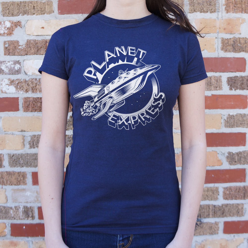 Midnight Blue Planet Express Spaceship T-Shirt (Ladies) Small / True Navy,Medium / True Navy,Large / True Navy,X-Large / True Navy,Small / Deep Red,Medium / Deep Red,Large / Deep Red,X-Large / Deep Red,Small / Lucky Green,Medium / Lucky Green,Large / Lucky Green,X-Large / Lucky Green,Small / Deep Ash,Medium / Deep Ash,Large / Deep Ash,X-Large / Deep Ash,Small / Chocolate,Medium / Chocolate,Large / Chocolate,X-Large / Chocolate,Small / Sky Blue,Medium / Sky Blue,Large / Sky Blue,X-Large / Sky Blue,Small / Mi