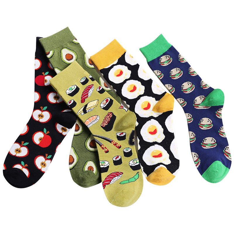 Tan Unisex Happy Socks Avocado,Omelette,Burger,Sushi,Apple