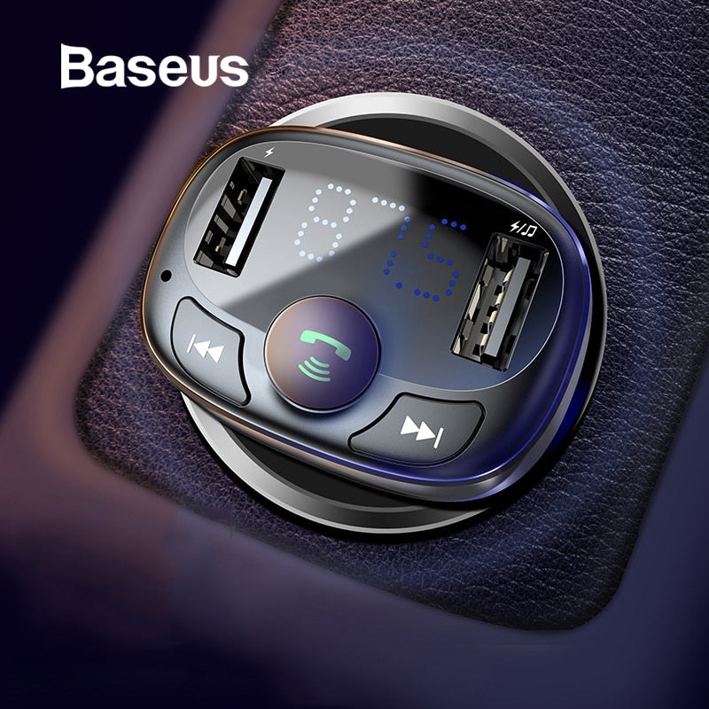 Gray Baseus Car Charger Bluetooth Handsfree FM Transmitter Default Title