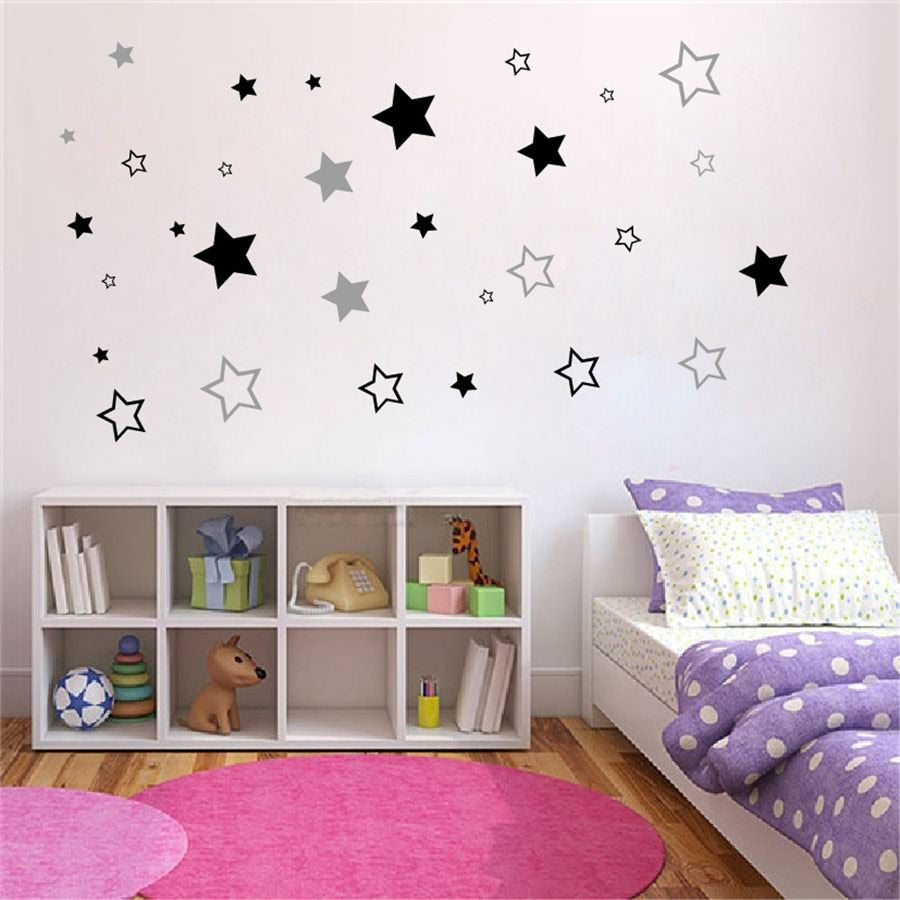 Lavender 49pcs Hollow Stars Wall Sticker Black,Gold,Soft   Pink,Purple,Silver,White,Brown,Dark  Gray,Light  Blue,Orange,Light  Gray,Apple  Green,Red,Yellow,Blue,Face  Blush