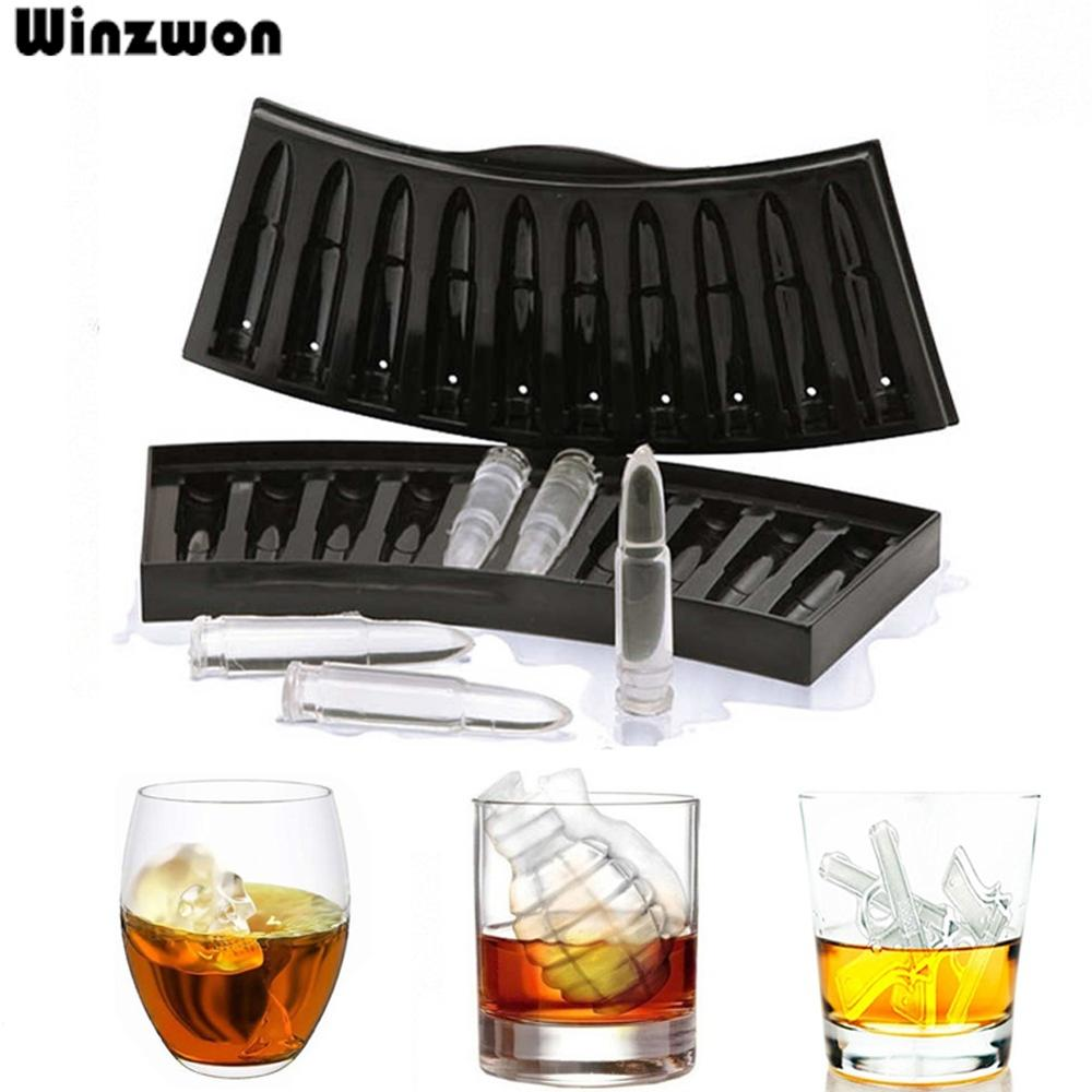 Black Creative Gun Bullet Skull Shape Ice Cube Maker Gun Black,Bullet Black,G green,Skull Black,Skull Blue,Diamond Blue,Diamond Blue White,Ball Black,Diamond Black Brown,Diamond Black