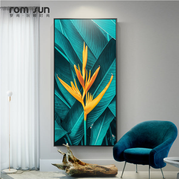 Goldenrod Nordic Green Leaf Yellow Flower Canvas 20x36cm(No Frame),30x54cm(No Frame),40x70cm(No Frame),50x90cm(No Frame),60x110cm(No Frame),75x130cm(No Frame),80x140cm(No Frame),70x122cm(No Frame)