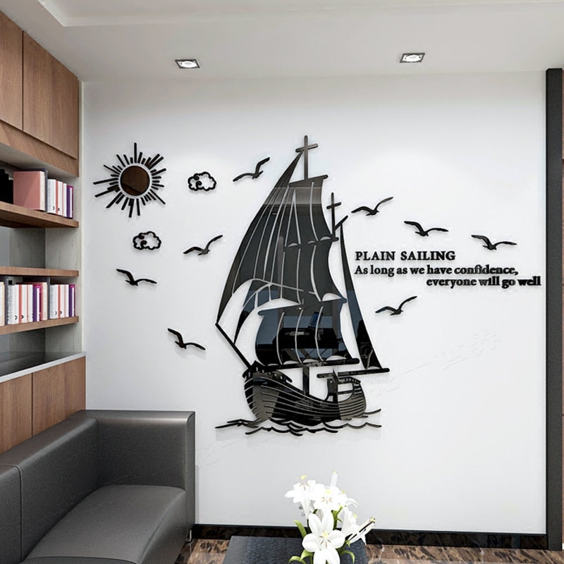 Lavender Sailing Acrylic Painting 3D Stereoscopic Wall Sticker Gold / Small,Silver / Small,Black / Medium,Black / Small,Blue / Small,Silver / Medium,Gold / Medium,Blue / Medium,Gold / Large,Silver / Large,Black / Large,Blue / Large