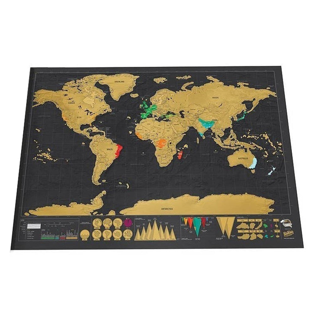 Dark Khaki Deluxe Travel Map Scratch Off World Map Default Title