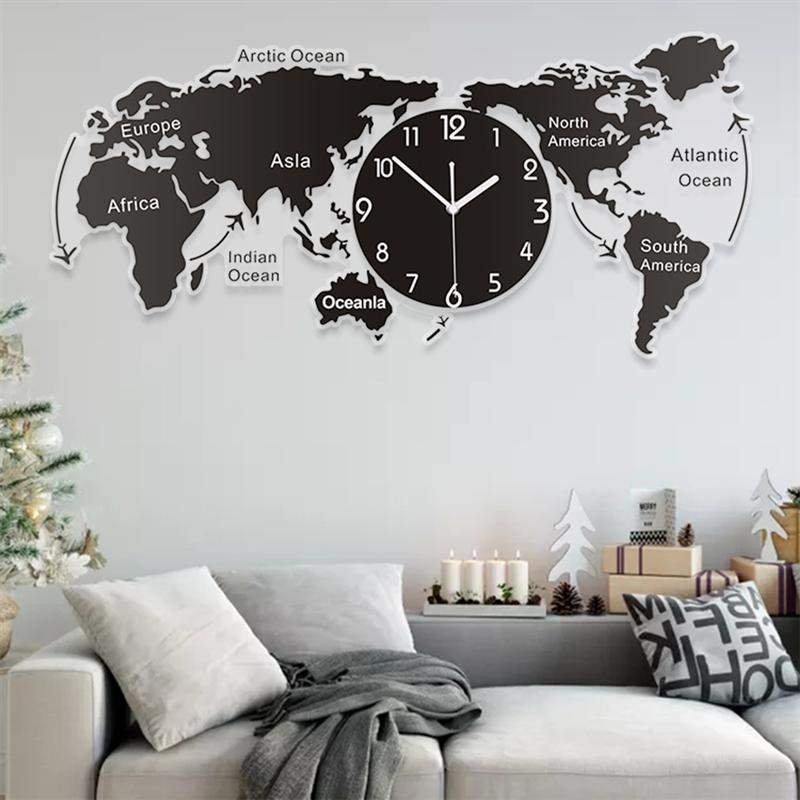 Light Gray Acrylic Wall Clock Creative World Map Black / 65cm x 37cm x 3cm,Black / 80cm x 45cm x 3cm