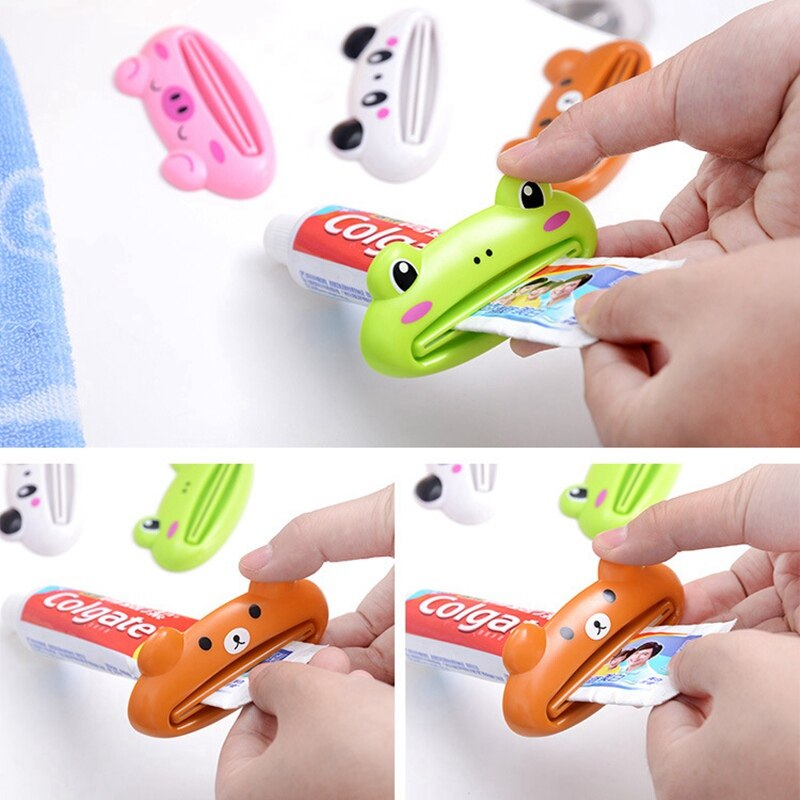 Yellow Green Cute Toothpaste Dispenser Tube Rolling Squeezer Brown bear,Pink pig,Frog,Panda