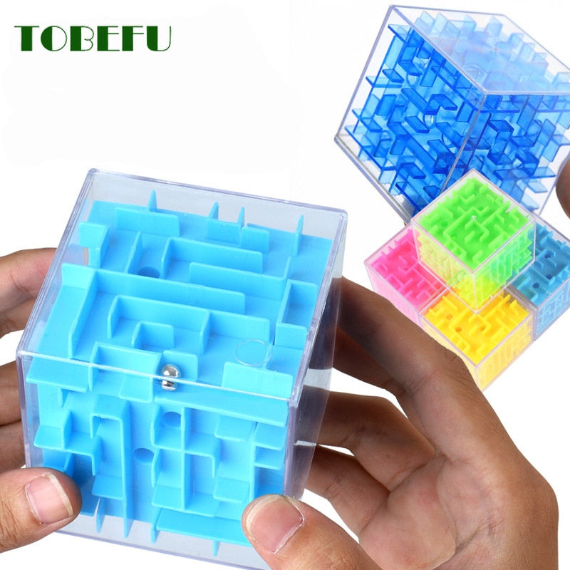 Medium Turquoise 3D Maze Magic Cube Green,Yellow,Pink,Blue
