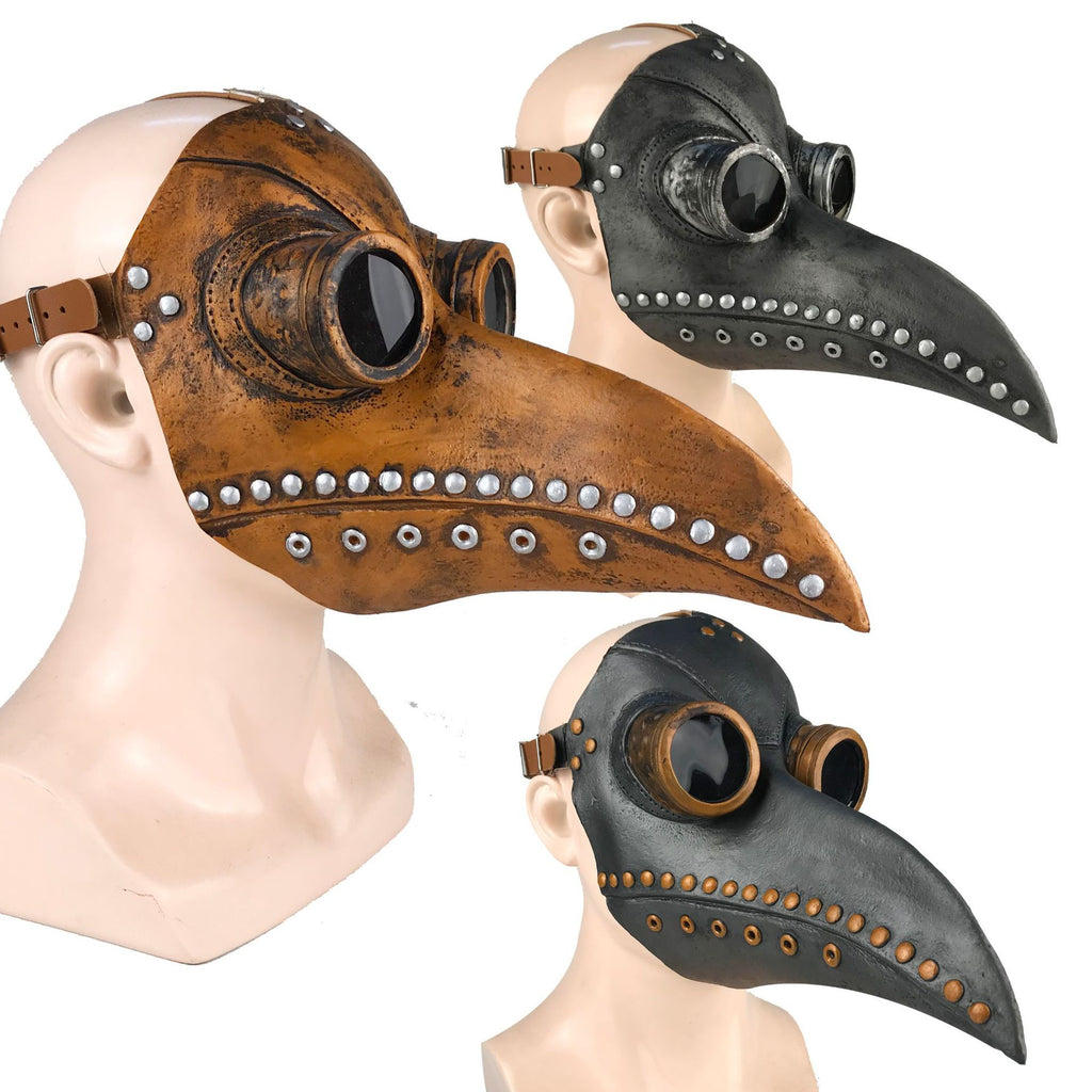 Sienna Medieval Steampunk Plague Doctor Bird Mask Black with Silver,Black with Gold,C