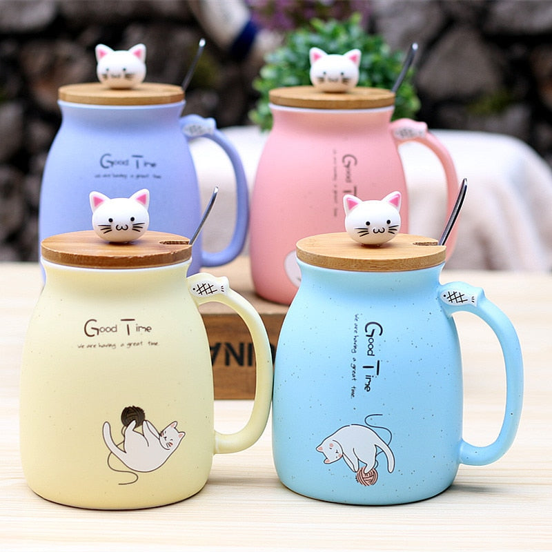 Light Pink Ceramics Cat Mug With Lid and Spoon Blue / 450ml,Yellow / 450ml,Purple / 450ml,Pink / 450ml