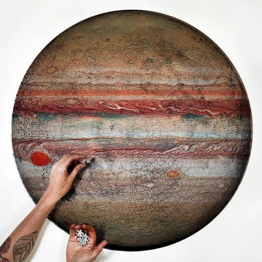 Dim Gray Earth and Moon 1000 Piece Round Jigsaw Puzzle Jupiter
