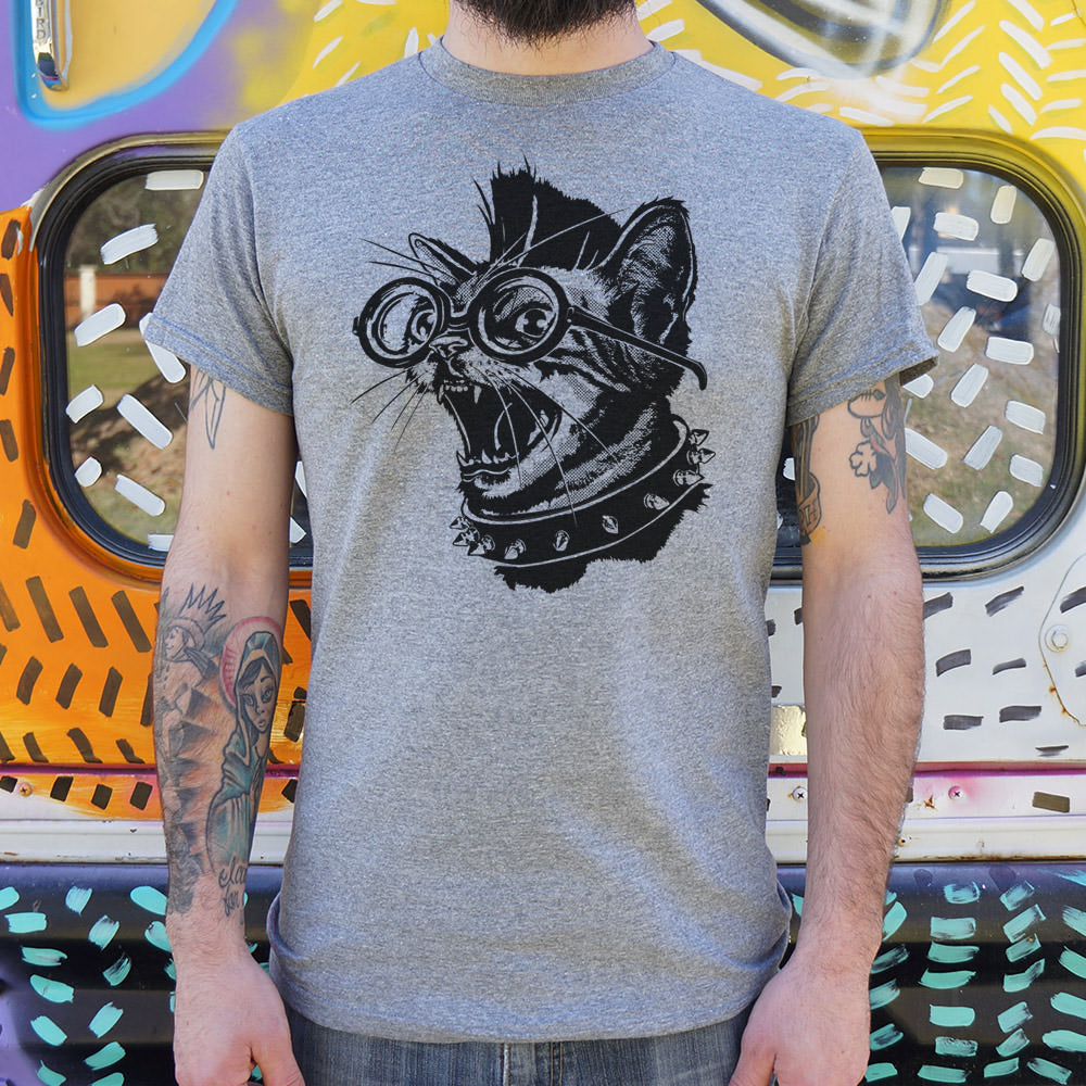 Dark Gray Punk Cat T-Shirt (Mens) Small / Gray Heather,Medium / Gray Heather,Large / Gray Heather,X-Large / Gray Heather,2X-Large / Gray Heather,3X-Large / Gray Heather,Small / Charcoal,Medium / Charcoal,Large / Charcoal,X-Large / Charcoal,2X-Large / Charcoal,3X-Large / Charcoal,Small / White,Medium / White,Large / White,X-Large / White,2X-Large / White,3X-Large / White,Small / Kelly Green,Medium / Kelly Green,Large / Kelly Green,X-Large / Kelly Green,2X-Large / Kelly Green,3X-Large / Kelly Green,Small / Li