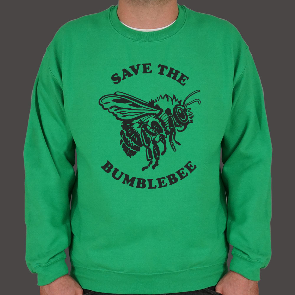 Medium Sea Green Save The Bumblebee Sweater (Mens) Small / Kelly Green,Medium / Kelly Green,2X-Large / Kelly Green,Large / Kelly Green,X-Large / Kelly Green,3X-Large / Kelly Green