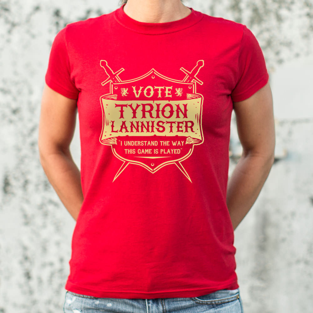 Firebrick Vote Tyrion Lannister T-Shirt (Ladies) Small / Deep Red,Medium / Deep Red,Large / Deep Red,X-Large / Deep Red,Small / Lucky Green,Medium / Lucky Green,Large / Lucky Green,X-Large / Lucky Green,Small / Deep Ash,Medium / Deep Ash,Large / Deep Ash,X-Large / Deep Ash,Small / Chocolate,Medium / Chocolate,Large / Chocolate,X-Large / Chocolate,Small / Sky Blue,Medium / Sky Blue,Large / Sky Blue,X-Large / Sky Blue,Small / Midnight,Medium / Midnight,Large / Midnight,X-Large / Midnight