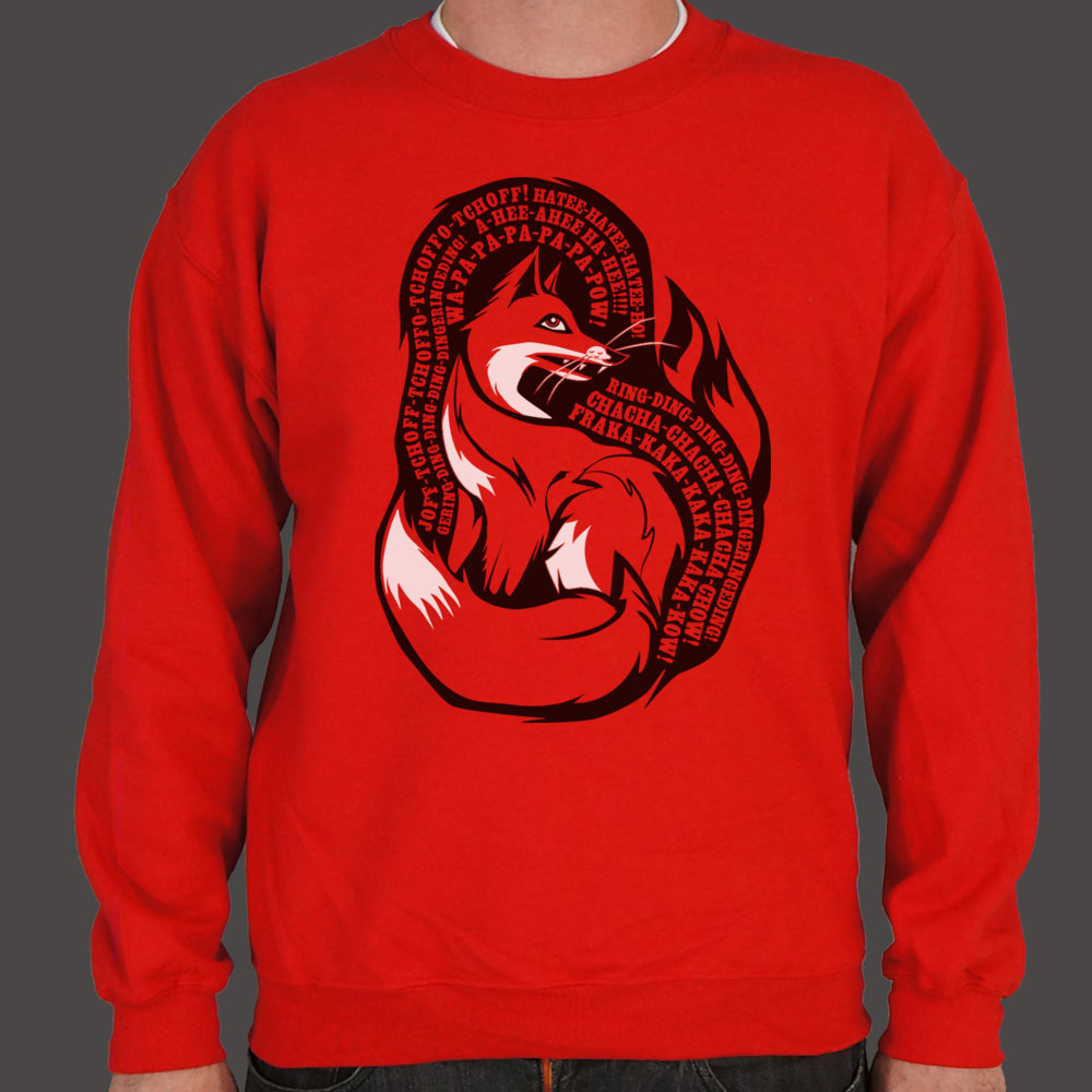 Firebrick What Does The Fox Say Sweater (Mens) Small / Red,Medium / Red,2X-Large / Red,Large / Red,X-Large / Red,3X-Large / Red
