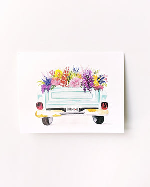 "Watercolor Floral Truck ""Thank You"" Card Set"