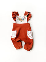 Embroidered Flutter Pants Romper- Size 6/12 Months