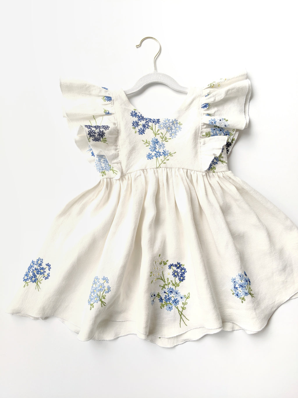 *RAFFLE* Embroidered Wide-Sleeve Flutter Dress- Size 3/4T