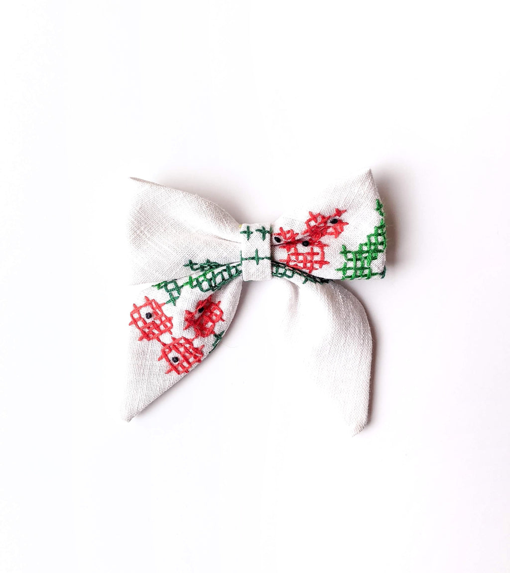 Holly Embroidered Bow