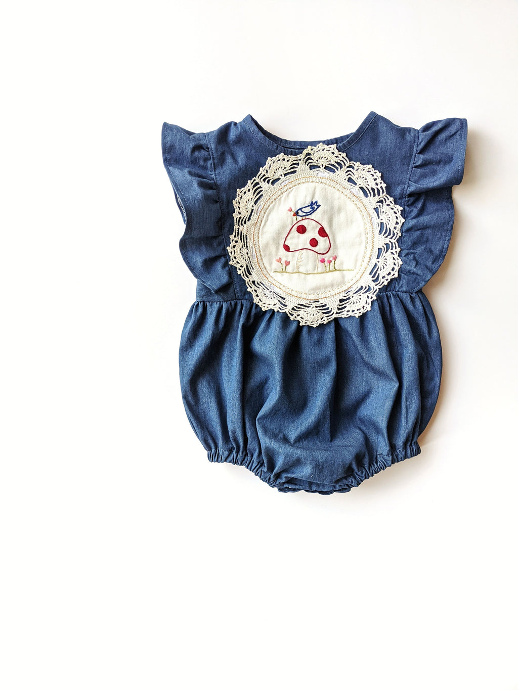 Embroidered Doily Denim Romper- Size 2T