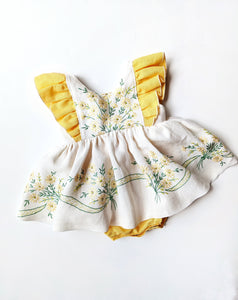 Yellow Daisy Embroidered Skirted Romper- Size 12/18 Months