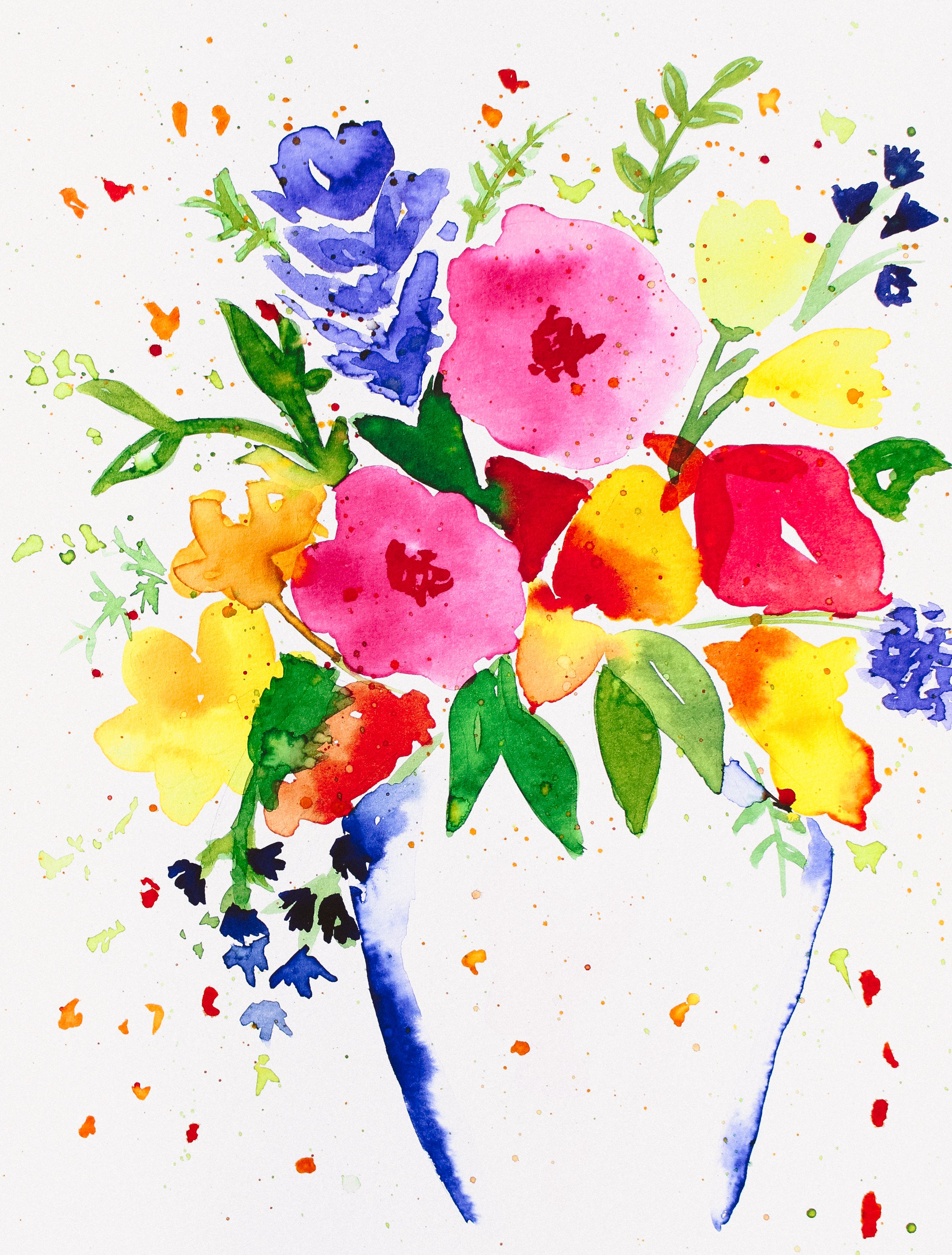 Watercolor Vibrant Abstract Flowers Digital Download