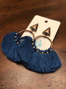 Arrow Tassel Hoops - Navy Blue