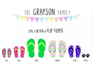 Framed Personalised Family Flip Flop Print