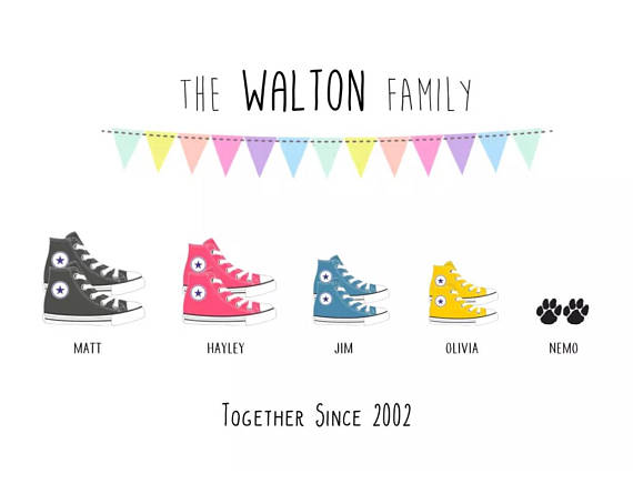 Framed Personalised Family Converse Print