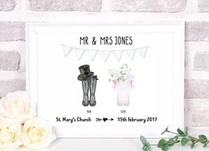 framed wedding wellies print
