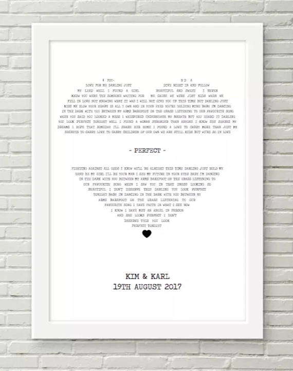 framed lyrics print