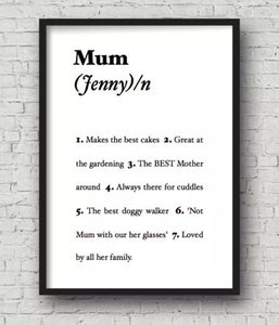 Framed Personalised Dictionary Print