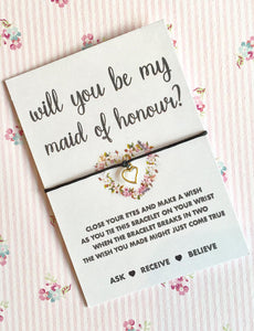 Will you be my Maid of Honour Wish String