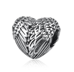 angel wing / feather heart charm