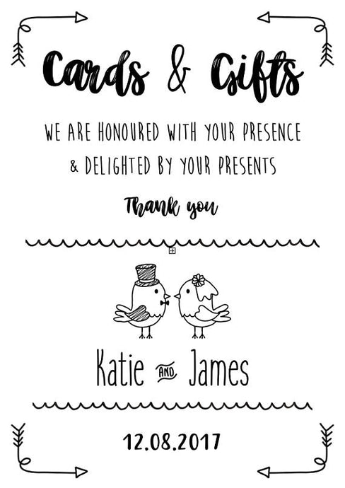 cards & gifts wedding sign print