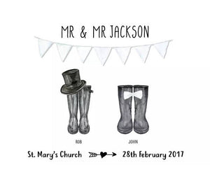 Framed Personalised Wedding Wellies Print