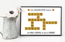 personalised family scrabble print