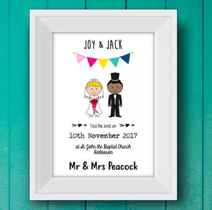 framed Personalised Wedding stick people Print